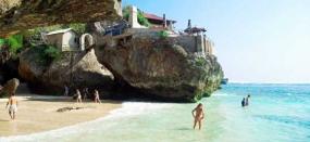 Het strand van Suluban in Badung, Bali