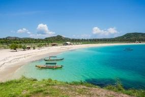 Het strand van Tanjung Aan in Lombok, West Nusa Tenggara