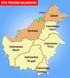 Map of Province in Borneo island