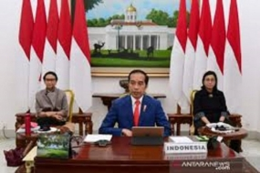 Indonesia set to bolster collaboration with G20 against COVID-19 Documentation - President Joko Widodo while attending the G20 Extraordinary High Level Conference virtually from the Bogor Presidential Palace, West Java, Thursday (3/26/2020