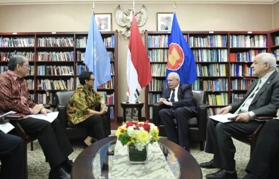FM Retno Marsudi have a meeting with Palestinian FM in New York