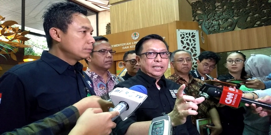 Director General of Law Enforcement at the Environmental and Forestry, Rasio Ridho Sani in a press conference at the Manggala Wanabakti Building in Jakarta on Friday (August 16, 2019)