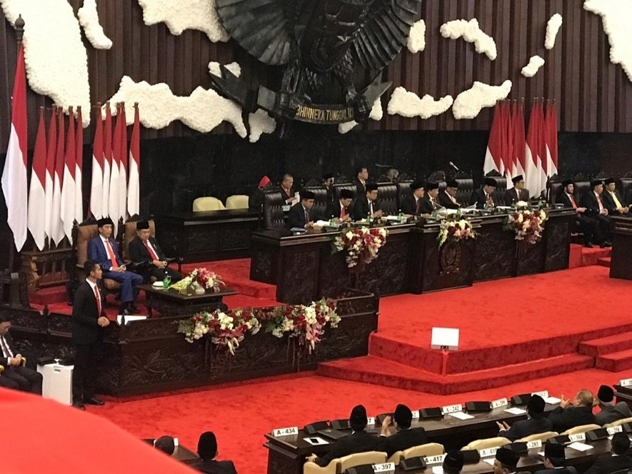 The Annual Session of People's Consulttaive Assembly, House of Representatives and Regional Representative Council in Jakarta 16 August 2019