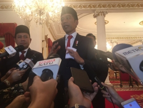 Indonesian President Joko Widodo at Press Conference in the State Palace in Jakarta on Wednesday (12/2/2020).