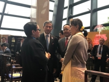 FM Madame Retno Marsudi with State Counselor Aung San Suu Kyi, Union Minister U Kyaw Tin of Myanmar and FM Vivian Balakrishnan of Singapore