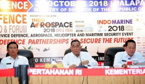 Indonesian Defense Minister, Ryamizard Ryacudu at Press Conference on Indo-Defense 2018 Expo and Forum at the Defense Ministry in Jakarta  on Wednesday (31/10)