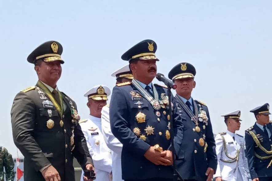 Indonesian Military Commander Air Chief Marshall Hadi Tjahjanto made a statement after a ceremony to observe the 74th anniversary of TNI at the Halim Perdanakusuma Air Base, Jakarta, on Saturday (Oct 5, 2019)