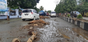 Road situation after the flash floods in Sentani