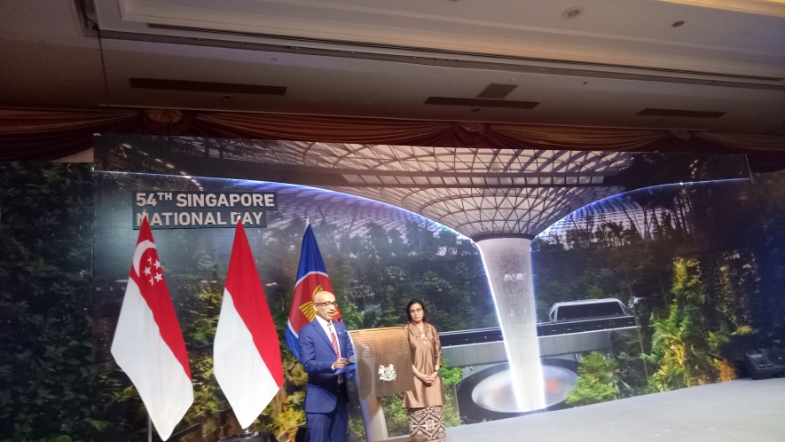 Singapore's Ambassador to Indonesia, Anil Kumar Nayar at the 54th Singapore National Day Commemoration in Jakarta on Wednesday (14/08).
