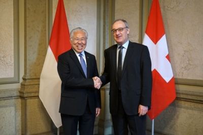 The Indonesian Minister of Trade, Enggartiasto Lukita met with the Swiss Minister of Economy, Education and Research Guy Parmelin in Bern, Switzerland,