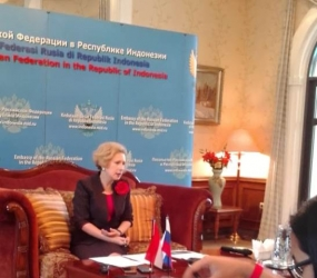 Russian Ambassador to Indonesia Ms. Lyudmila Vorobieva in a press brieifing Wednesday (13.02.2019)