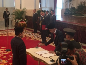 President Joko Widodo at the State Palace.
