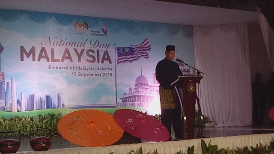 Deputy Ambassador of Malaysia to Indonesia, Zamshari Shaharan, in his remarks at the Commemoration of Malaysia's National Day in Jakarta, Wednesday (September 19)