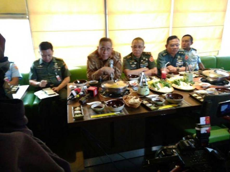 Indonesian Defense Minister Ryamizard Ryacudu  at the Gathering with Media in Jakarta on Monday  (14