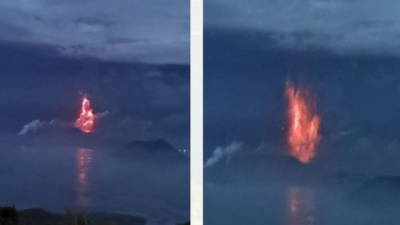 Taal Volcano in the Philippines Spews Lava
