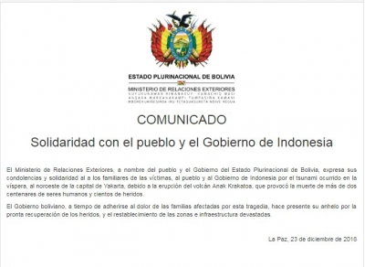 Letter from Cancilleria Bolivia