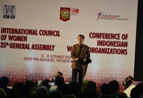 President Joko Widodo at the 35th General assembly of the International Council of Women -ICW and the first national meeting of a thousand leaders of women's organizations in Jogjakarta 14.09.2018