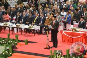 President Joko Widodo acted as inspector of a ceremony to celebrate Bhayangkara Day in Jakarta, on Wednesday (11/7)
