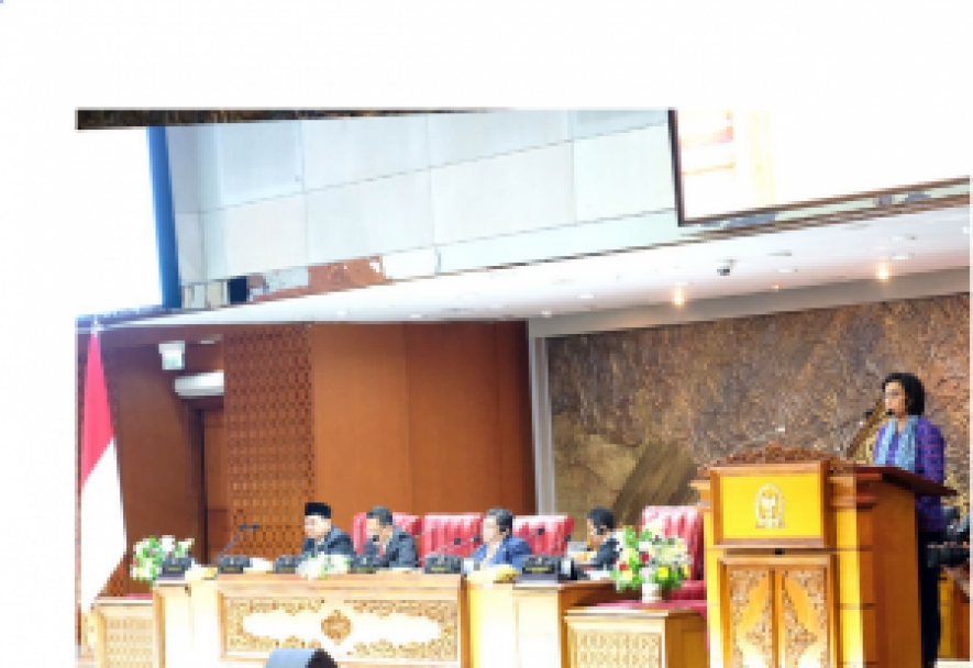 Minister of Finance Sri Mulyani Indrawati conveyed the Government's proposal for the 2020 State Budget Draft, at the DPR RI Plenary Meeting in Jakarta, Monday (20/5) .
