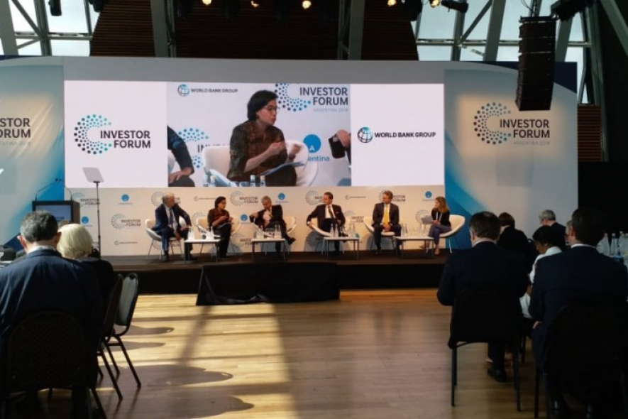 Finance minister Sri Mulyani Indrawati participates in an investor forum panel discussion as part of G20 Summit agenda in Buenos Aires, Argentina, on Thursday (29/11)
