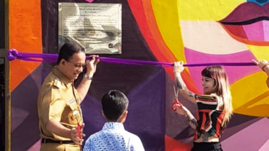 The Governor of Jakarta Special Region, Anies Baswedan, inaugurated a mural artwork at Taman Ismail Marzuki-TIM, Monday (September 10), Jakarta.
