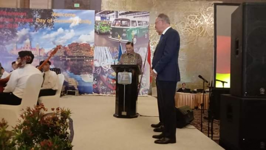 Coordinating Minister for Maritime Affairs, Luhut B. Pandjaitan in his remarks representing the Government of the Republic of Indonesia as a guest of honor in the celebration of German Unification Day in Jakarta, Thursday (03/10/2019)