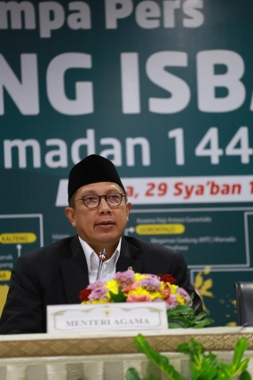 Indonesian Minister of Religious Affairs Lukman Hakim Saifudin announced the beginning of Ramadan 1440 in Jakarta Sunday,  5 May,  2019