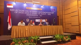 Ambassador of European Union Vincent Piket at a Press Conference on the sidelines of '10 years reflection of SVLK implementation and 3 years license of  Forest Law Enforcement Governance and Trade -FLEGT in Jakarta on Monday (Nov 18)