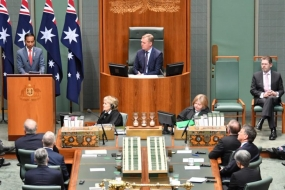 President Joko Widodo delivered his speech before members of the Australian Parliament in Canberra on Monday (Feb 10)