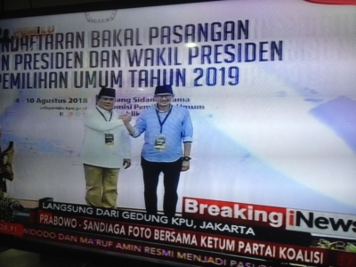 Prabowo Subianto Registered his Candidacy to KPU