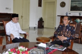 MPR Chairperson Zulkifli Hasan met with President Jokowi, at the Presidential Palace in Bogor, West Java, Wednesday (22/5)