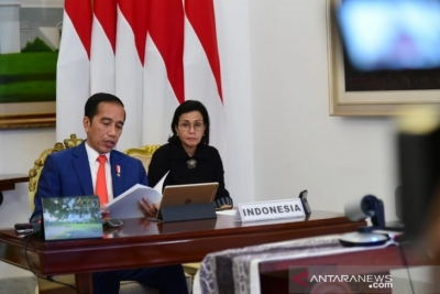 President Joko Widodo joined the G20 Extraordinary Sherpa Meeting virtually from Bogor Palace, West Java on Thursday evening (March 26, 2020).