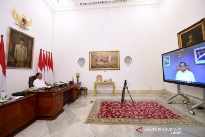 President Joko Widodo chaired a limited teleconference meeting (