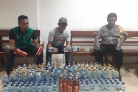 "The police in Jayapura Port, Papua Province, seized 157 bottles of alcoholic drinks from Motor Vessel ""Labobar"" which arrived at the port from Bitung, North Sulawesi Province, on Saturday evening (Feb 8, 2020)."