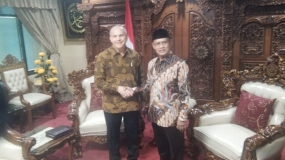 The US Ambassador to Indonesia, Joseph Donovan and General Chairman of Muhammadiyah Islamic Organization Central Board, Haedar Nashir