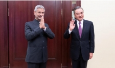 Chinese State Councilor and Foreign Minister Wang Yi meets Indian Foreign Minister Subrahmanyam Jaishankar on the sidelines of the Shanghai Cooperation Organisation meeting in Moscow, Russia, Sept. 10, 2020.