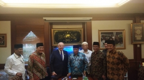US Ambassador to Indonesia Joseph Donovan  and General Chair of the Nahdlatul Ulama (PBNU) Executive Board, KH Said Aqil Siradj at the PBNU office, Jakarta on Monday (21/10/2019)