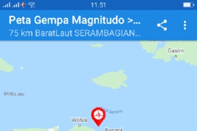 A 5.6-magnitude earthquake rocked East Seram District's area in Maluku Province on Feb 8, 2020