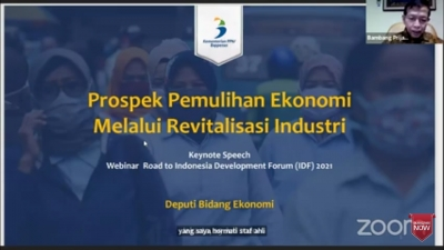 Deputy Minister for Economic Affairs of the Ministry of National Development Planning / National Development Planning Agency (PPN / Bappenas) Bambang Prijambodo at Webinar Road to IDF 2021